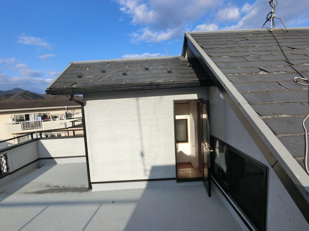 ベランダ防水工事、屋根カバー前
